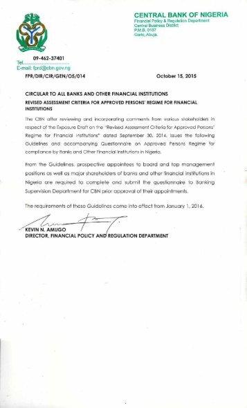 REGIME FOR FINANCIAL INSTITUTIONS OCTOBER 2015