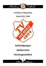 Stadionzeitschrift Hemau vs. Ramspau