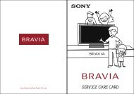 SERVICE CARE CARD - Sony