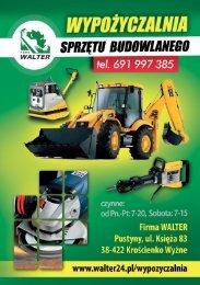 Cennik sprzętu i narzędzi do wypożyczenia - Walter