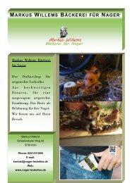 Produkt Web Katalog  Markus Willems Bäckerei für  Nager
