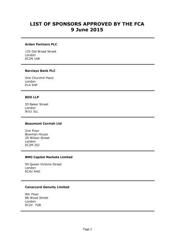 LIST OF SPONSORS APPROVED BY THE FCA 9 June 2015