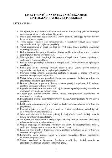 Lista tematów do ustnego egzaminu maturalnego z języka ...