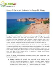 Europe: A Charismatic Destination For Memorable Holidays