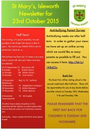 St Mary's Isleworth Newsletter for 23rd October 2015