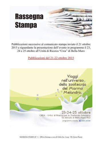 """""""ZOION PLANET"""" A BELLA MURO - RASSEGNA STAMPA del 21-22-23 ottobre 2015 - A cura di Claudio Buono"""