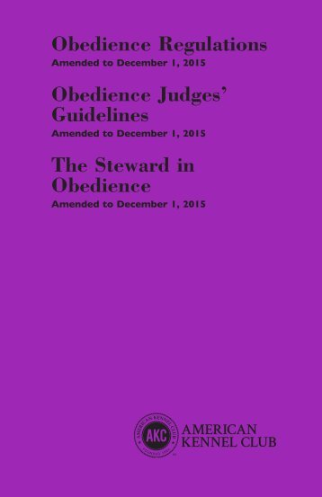 Obedience Regulations Obedience Judges' Guidelines The Steward in Obedience