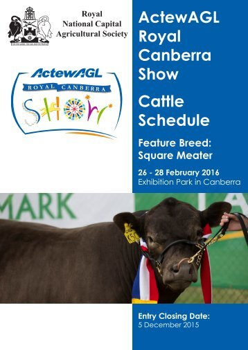 ActewAGL Royal Canberra Show Cattle Schedule