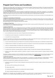 Prepaid Card Terms and Conditions