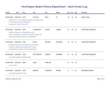 huntington beach arrest log Huntington Beach Police Department - Adult Arrest Log