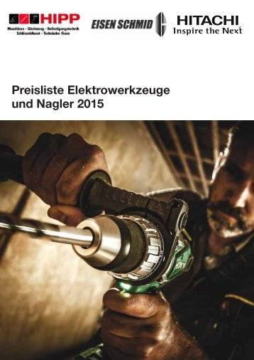 Hipptools Preisliste Elektrowerkzeuge und Nagler von Hitachi.