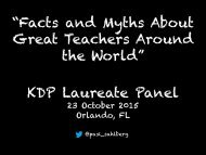 """Facts and Myths About Great Teachers Around the World"" KDP Laureate Panel"