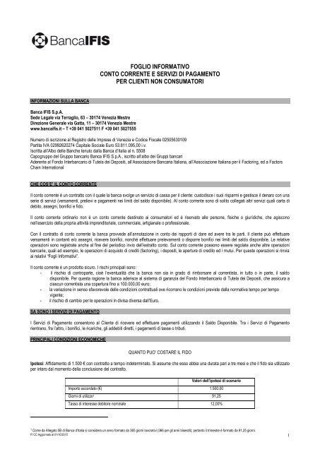 FOGLIO INFORMATIVO CONTO CORRENTE - Banca IFIS