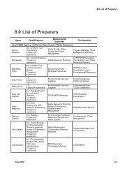 8.0 List of Preparers - California Department of Water Resources