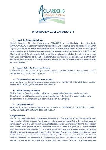 INFORMATION ZUM DATENSCHUTZ