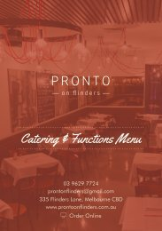 PRONTO Catering & Functions Menu