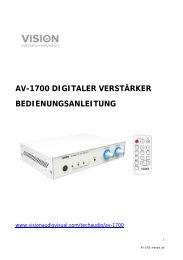 AV-1700 DIGITALER VERSTÄRKER BEDIENUNGSANLEITUNG
