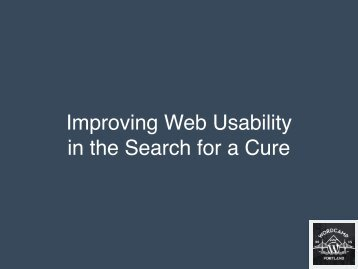 Improving Web Usability in the Search for a Cure