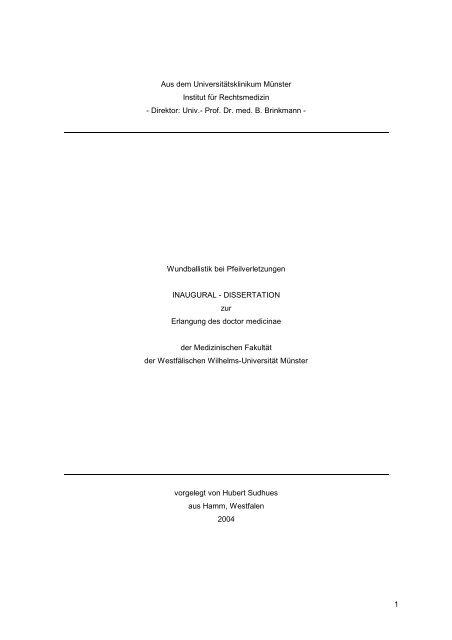 dissertation wundballistik bei pfeilverletzungen