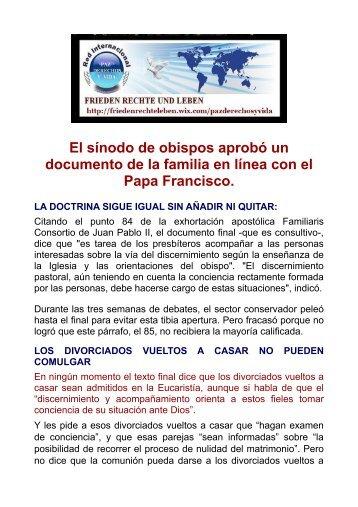 El sínodo de obispos aprobó un documento de la familia en línea con el papa Francisco