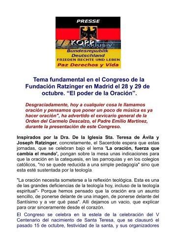 CONGRESO JOSEPH RATZINGER EN MADRID-SANTA TERESA DE AVILA Y BENEDICTO XVI.