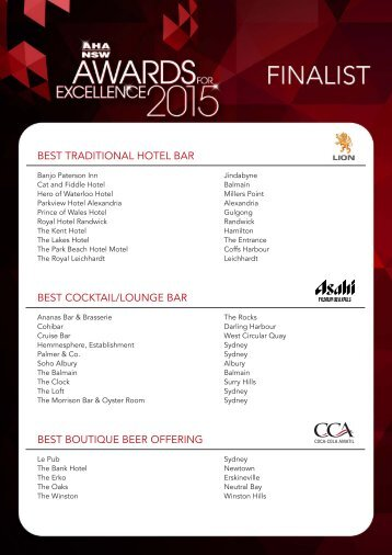 BEST TRADITIONAL HOTEL BAR BEST COCKTAIL/LOUNGE BAR BEST BOUTIQUE BEER OFFERING
