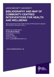 BIBLIOGRAPHY AND MAP OF COMMUNITY-CENTRED INTERVENTIONS FOR HEALTH AND WELLBEING