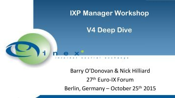 IXP Manager Workshop V4 Deep Dive
