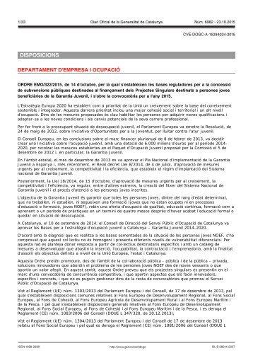 DISPOSICIONS DEPARTAMENT D'EMPRESA I OCUPACIÓ