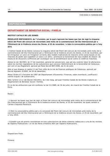 DISPOSICIONS DEPARTAMENT DE BENESTAR SOCIAL I FAMÍLIA