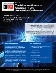 The Nineteenth Annual Canadian IT Law Association Conference