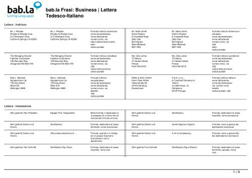 Bab La Frasi Business Lettera Tedesco Italiano