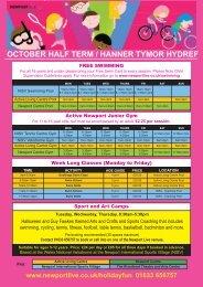 OCTOBER HALF TERM / HANNER TYMOR HYDREF
