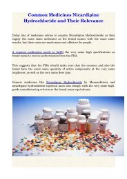 Common Medicines Nicardipine Hydrochloride and Their Relevance