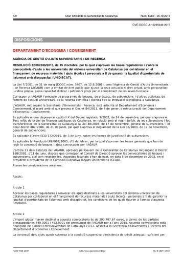 DISPOSICIONS DEPARTAMENT D'ECONOMIA I CONEIXEMENT