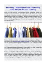 About Dry Cleansing Services And Exactly what They Do To Your Clothing