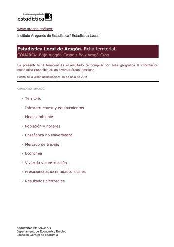 Estadística Local de Aragón Ficha territorial