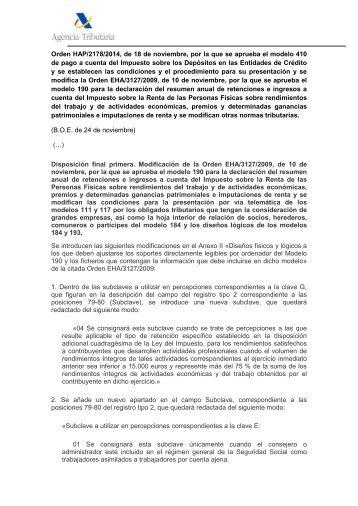 190 - Ejercicio 2013 y siguientes - Agencia Tributaria