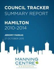 COUNCIL TRACKER SUMMARY REPORT HAMILTON 2010-2014