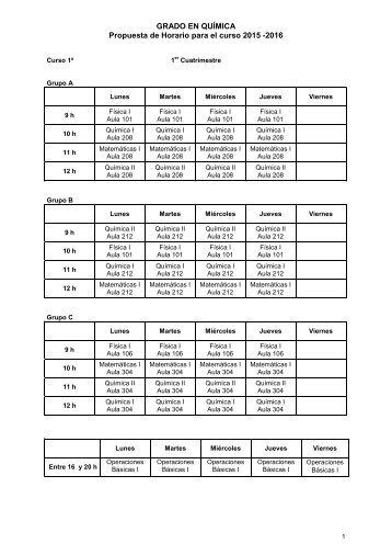GRADO EN QUÍMICA Propuesta de Horario para el curso 2015 -2016