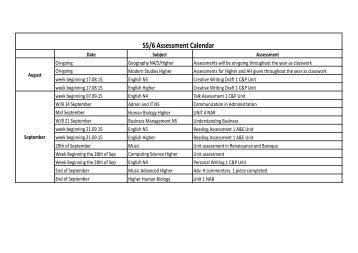 S5/6 Assessment Calendar