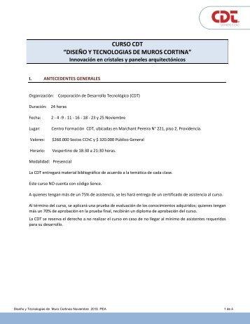 """CURSO CDT """"DISEÑO Y TECNOLOGIAS DE MUROS CORTINA"""""""