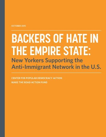BACKERS OF HATE IN THE EMPIRE STATE