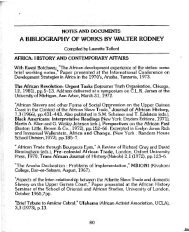 A Bibliography of Works By Walter Rodney, compiled by Laurette Telford.