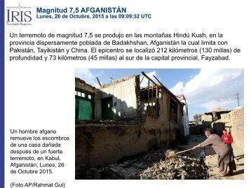 Magnitud 7,5 AFGANISTÁN