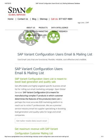 Buy Tele Verified SAP Variant Configuration End User List from Span Global Services