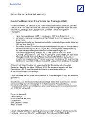 Deutsche Bank nennt Finanzziele der Strategie 2020