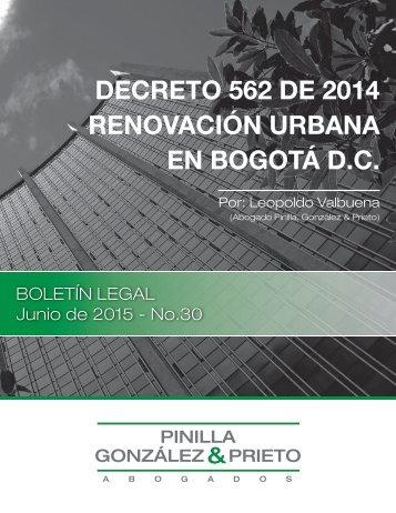 DECRETO 562 DE 2014 RENOVACIÓN URBANA EN BOGOTÁ D.C