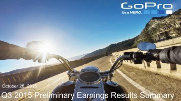 Q3 2015 Preliminary Earnings Results Summary