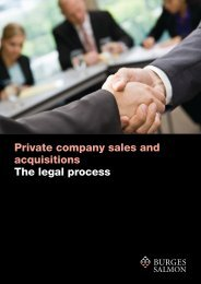 Private company sales and acquisitions The legal process